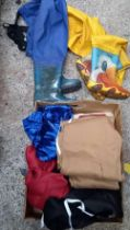 2 PAIRS OF RUBBER WADERS SIZE 32 & SIZE 34 & VARIOUS CHILDREN'S TRACK SUITS