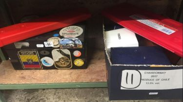 WOODEN BOX OF BADGES, 2 WARNING TRIANGLES & VARIOUS WATCH BOXES