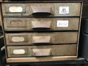 4 DRAWER SMALL STEEL CABINET CONTAINING ENGINEERING TOOLS, DRILLS, TAPS, MICRO METERS, CALLIPERS