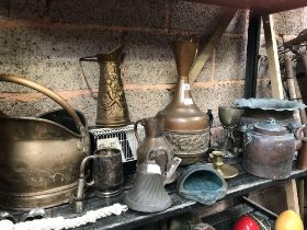 SHELF WITH BRASS SPITTOONS, HELMET SHAPED COAL BUCKET, VASES, BELL, COPPER KETTLE WITH AN INSET FLAP