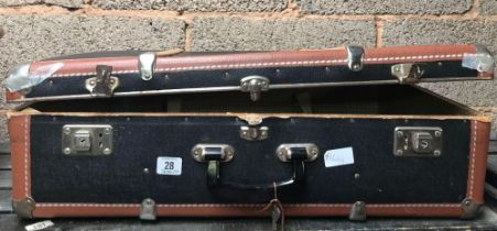 VINTAGE FIBRE CARDBOARD SUITCASE WITH METAL FITTINGS A/F