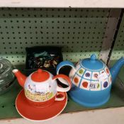 COALPORT BOX, COALPORT PLATE, 2 DECORATIVE TEA POTS, GLASS TEA POT ETC