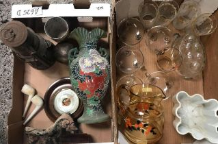 2 CARTONS WITH GLASSWARE, JELLY MOULD, STORM LANTERN, DECORATIVE VASE & A SHORT & MASON