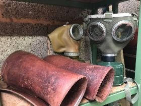 2 MODERN GAS MASKS & PAIR OF LEATHER GAITERS