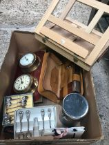 CARTON WITH BOXED PLATEDWARE, BETTY BOOP ALARM CLOCK, ERNEST JONES BAROMETER SET, ARTISTS TRAVELLING
