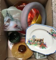 CARTON WITH GLASS POSY HOLDERS, WEDGWOOD TRINKET BOX, PLATE STAND, GLASS LAMP SHADE & OTHER