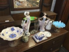 QTY OF CHINAWARE INCL; BUTTER DISH & COVER, PAIR OF LLADRO FIGURES ETC