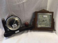 DECO WALL HANGING BAROMETER IN OAK CASE & BOOKEND CLOCK