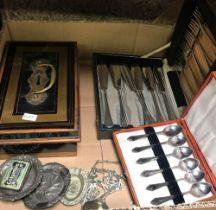 BOX CONTAINING CASH BOX, VARIOUS WHITE METAL ASHTRAYS, KNIFE & FORK FISH SET & 6 TEA SPOONS IN CASE
