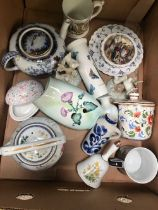 CARTON WITH PERIOD CHINAWARE INCL; CARLTONWARE VASE, PORTMEIRION BRUSH POT, TEA POTS & OTHER CHINA
