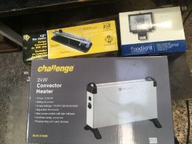 2Kw CONVECTOR HEATER, 12'' TILE CUTTER & A FLOOD LIGHT, ALL NEW IN BOXES