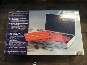 ALUMINIUM COIN CASE FOR 205 COINS, NEW IN BOX (KEY IN OFFICE)