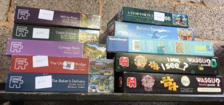 10 VARIOUS JIGSAW PUZZLES INCL; BETTIES SWEET SHOP & CORONATION STREET