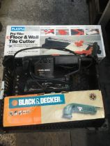 FLOOR & WALL TILE CUTTER, NEW IN BOX, BLACK & DECKER SANDER & BLACK & DECKER PROFILE SANDER