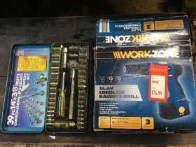SMALL 39 PIECE ¼ & 3/8 DRIVE METRIC & INCH RATCHET SOCKET SET & A WORK ZONE CORDLESS HAMMER DRILL