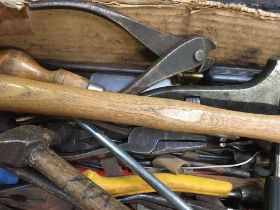 CARTON OF MISC HAND TOOLS INCL; HAMMERS WRENCHES, PLIERS, SCREWDRIVERS