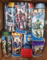 CARTON OF LEGO ''KNIGHTS KINGDOM'' KITS IN ORIGINAL TIN & PLASTIC CONTAINERS