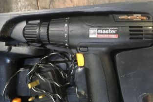 POWER MASTER CORDLESS DRILL, SANDER, JIGSAW, ALL CORDLESS IN A BLACK CARRY CASE