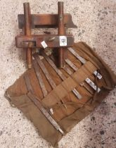 ANTIQUE SASH FILLISTER PLOUGH PLANE WITH VARIOUS BLADES IN ROLL