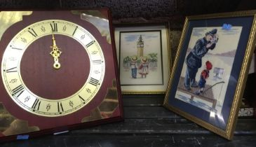 2 GILT FRAMED SMALL EMBROIDERED PICTURES OF POLICEMAN, CHRISTOPHER ROBIN & ALICE IN LONDON & A