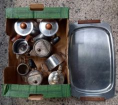 CARTON OF MISC PLATEDWARE INCL; A TRAY