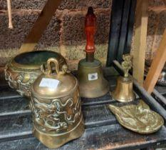ONE BRASS WOOD HANDLED HAND BELL, BRASS TABLE BELL, FOX MASK ASHTRAY, BUDDHA BELL& A BRASS ORNATE