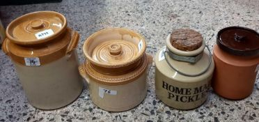 2 STONEWARE JARS WITH LIDS, HOME MADE PICKLES JAR WITH CORK & HANDLE & AN EARTHEN WARE ROYAL BARUM