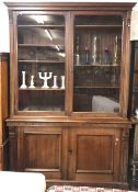 LARGE ARTS & CRAFTS DRESSER WITH CARVED DETAIL, GLASS FRONTED SHELVED DISPLAY CABINET ABOVE &