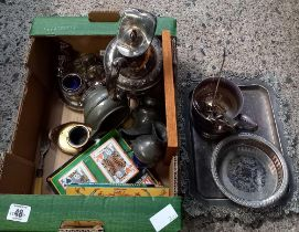 CARTON WITH MISC PLATEDWARE INCL; WATER JUG, TANKARD, COASTER, TRAY, BOX OF CARDS