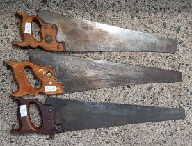 3 VINTAGE PANEL SAWS, 1 BY SPEAR & JACKSON, TYZACK & SONS & 1 OTHER