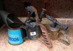 2 BRASS BLOW LAMPS & A BLUECOL ANTI FREEZE METAL CAN