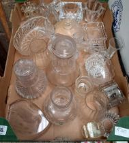 4 CARTONS OF MISC GLASSWARE INCL; CANDLE STICKS, ASHTRAYS, DECANTERS, JUGS