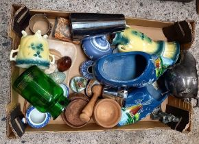 CARTON OF MISC ITEMS INCL; VASES, STONE EGGS, PLATEDWARE, WOODEN PLACE MATS & A PAIR OF CLOGS