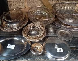 2 SHELVES OF MISC EPNS & SILVER PLATED METALWARE