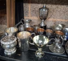 SHELF WITH MIXED PLATED WARE, TROPHY CUPS, EGG CUPS & TEA POTS