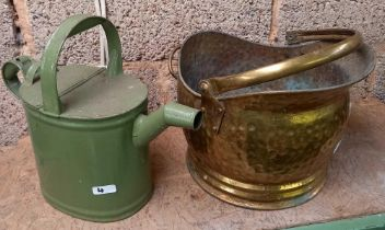 GREEN METAL WATERING CAN & A BRASS HANDLED COAL BUCKET