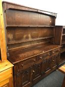 GOTHIC STYLE ELM DRESSER, SLIGHTLY DISTRESSED, 5ft WIDE X 5ft TALL
