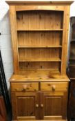 NARROW PINE DRESSER BY WESTERN WOODCRAFT OF SOMERSET 6ft TALL X 3ft WIDE, SLIGHTLY DISTRESSED