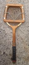 ORNATE WOOD PICTURE FRAME & A DUNLOP TENNIS RACKET IN STRETCHER