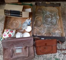 2 CARTONS OF GLASSWARE, CHINA, LEATHER SATCHEL & 1 OTHER