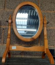 OVAL PINE DRESSING TABLE MIRROR