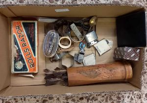 CARTON QUEEN ANN LIGHTER, VINTAGE DARTS IN A BAMBOO PAINT BRUSH POT, WHISTLE, CIGARETTE LIGHTERS,