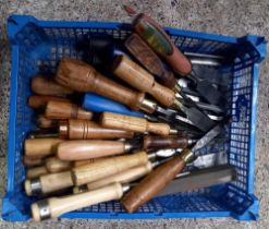 CARTON OF MISC WOOD HANDLED WOOD CHISELS INCL; STANLEY