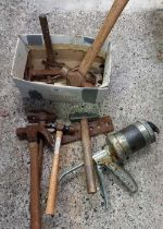 SMALL CARTON WITH A WANNER HAND GREASE PUMP & MISC HAMMERS
