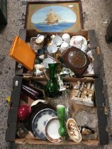 2 CARTONS OF MISC GLASS & CHINAWARE INCL; CLOCKS & A TRAY PICTURE OF A CRUSADER SHIP