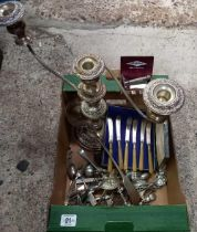 CARTON WITH MISC SPOONS, TEASPOONS, A GILLETTE RAZOR IN BOX & 3 BRANCH CANDELABRA & SOUP LADLE
