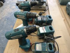 (3) Makita Cordless Drills with (3) Battery Chargers