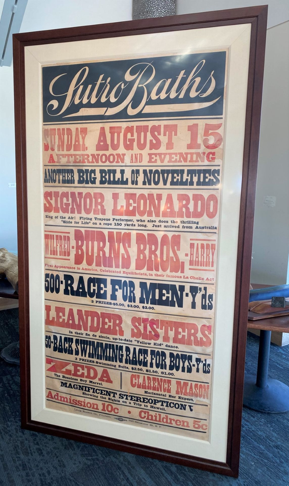 Framed Poster - Large Sutro Baths Lithograph Banner