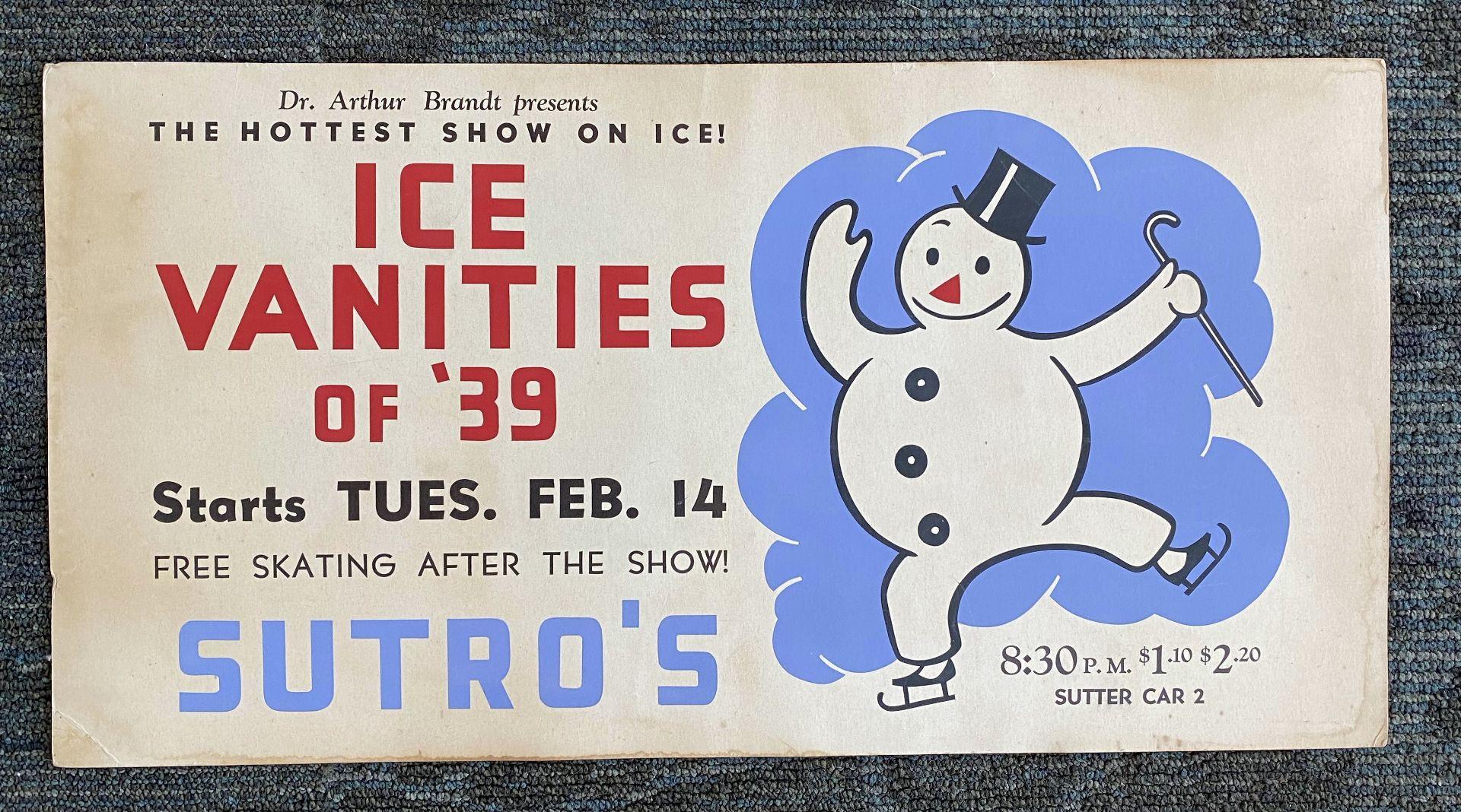 Poster - Sutros Ice Skating - Ice Vanities (Snow Man)