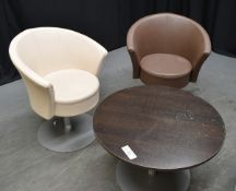 2x Light Brown & 2x Dark Brown Leather Effect Swivel Tub Chairs with Brown Table with meta